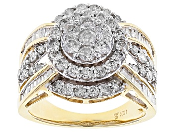 Picture of White Diamond 10k Yellow Gold Ring 2.00ctw