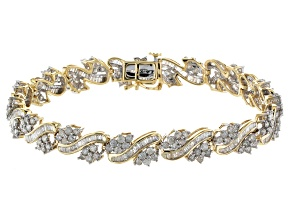 White Diamond 10k Yellow Gold Bracelet 5.00ctw