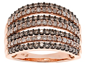 Champagne And White Diamond 10k Rose Gold Ring 1.50ctw