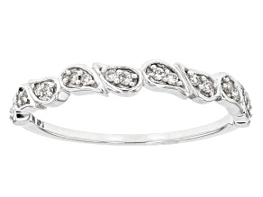 White Diamond 10k White Gold Ring .10ctw