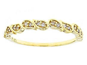 White Diamond 10k Yellow Gold Ring .10ctw