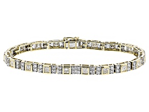 White Diamond 10k Yellow Gold Bracelet 5.75ctw