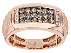 Champagne And White Diamond 10k Rose Gold Gents Ring .75ctw