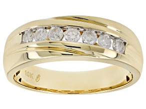 White Diamond 10k Yellow Gold Gents Ring 50ctw