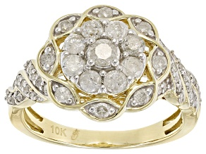 White Diamond 10k Yellow Gold Ring .90ctw