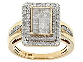 White Diamond 10k Yellow Gold Ring 1.05ctw