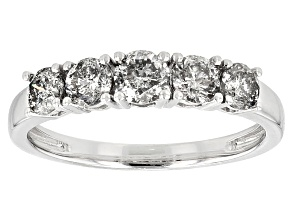 White Diamond 10k White Gold Ring 1.02ctw