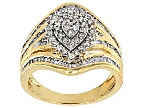 White Diamond 10k Yellow Gold Ring 1.12ctw