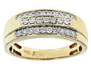 White Diamond 10k Yellow Gold Gents Ring .50ctw