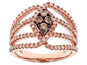 Champange And White Diamond 10k Rose Gold Ring 1.00ctw