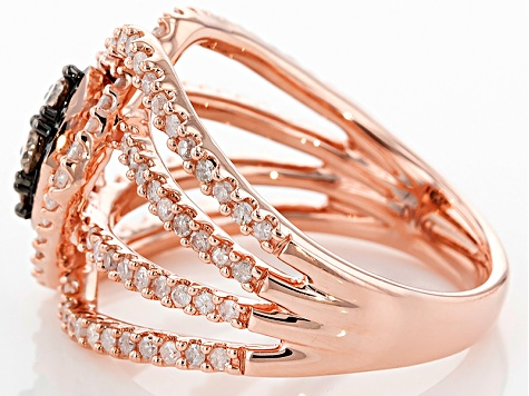 Champange And White Diamond 10k Rose Gold Ring 1.00ctw