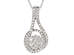 White Diamond 10k White Gold Pendant .53ctw