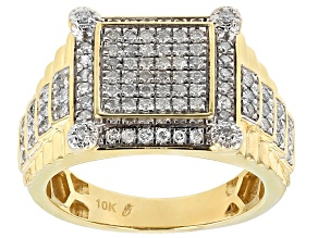 White Diamond 10k Yellow Gold Gents Ring 1.00ctw