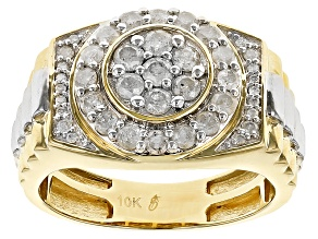 White Diamond 10k Yellow And White Gold Gents Ring 1.00ctw