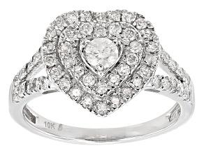 White Diamond 10k White Gold Ring .86ctw