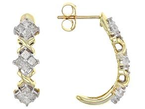 Diamond 10k Yellow Gold Earrings .75ctw