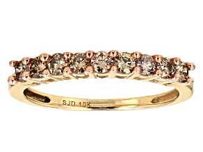Champagne Diamond 10k Yellow Gold Band Ring .45ctw