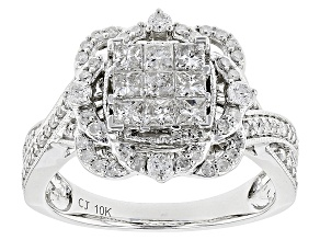 White Diamond 10k White Gold Ring .99ctw