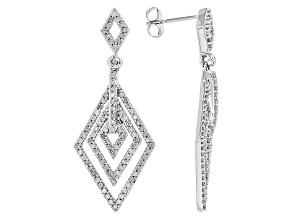 White Diamond 10k White Gold Earrings .75ctw