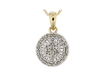 Picture of White Diamond 10k Yellow Gold Cluster Pendant With 18 Inch Rope Chain 0.25ctw