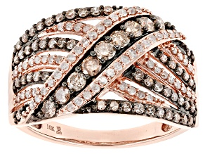 Champagne And White Diamond 10k Rose Gold Ring 1.00ctw