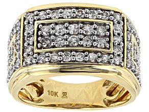 White Diamond 10k Yellow Gold Getns Ring 2.00ctw