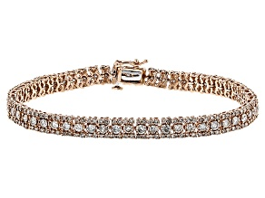 White Diamond 10k Rose Gold Bracelet 6.00ctw