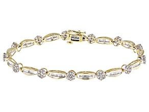 White Diamond 10k Yellow Gold Bracelet 2.00ctw