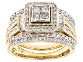 White Diamond 10k Yellow Gold Ring With 2 Matching Bands 1.25ctw