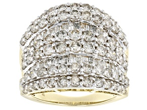 White Diamond 10k Yellow Gold Cocktail Ring 4.00ctw