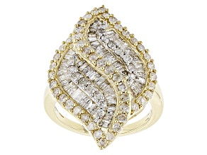 White Diamond 10k Yellow Gold Ring 2.12ctw