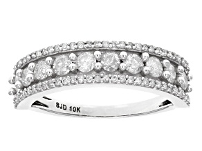 White Diamond 10k White Gold Ring .85ctw