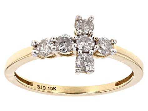 White Diamond 10k Yellow Gold Ring .45ctw