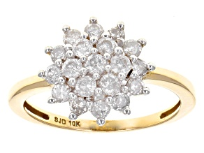 White Diamond 10k Yellow Gold Ring .75ctw