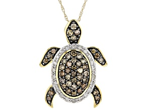 """Champagne And White Diamond 10k Yellow Gold Turtle Pendant With 18"""" Rope Chain .75ctw"""