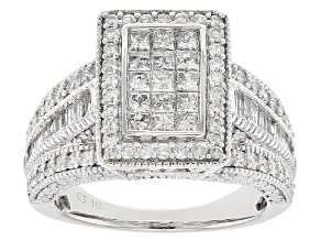 White Diamond 10k White Gold Ring 1.98ctw