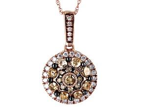 Champange And White Diamond 10k Rose Gold Pendant 1.00ctw