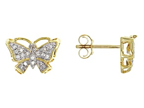 White Diamond 10k Yellow Gold Earrings .16ctw