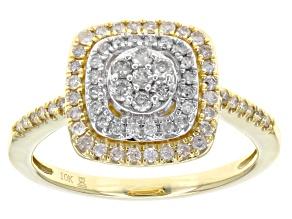 White Diamond 10k Yellow Gold And Rhodium Over 10k Yellow Gold Ring .50ctw