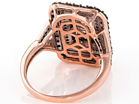 Champagne And White Diamond 10k Rose Gold Ring 1.30ctw