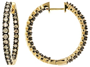 Champagne Diamond 10k Yellow Gold Earrings 2.00ctw