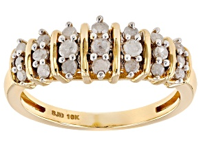 White Diamond 10k Yellow Gold Ring .45ctw