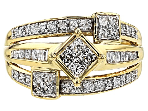 White Diamond 10k Yellow Gold Ring 1.00ctw
