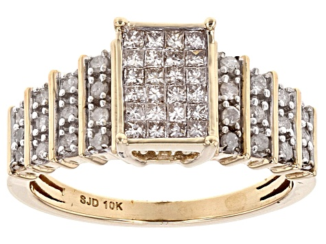 White Diamond 10k Yellow Gold Quad Ring 0.55ctw
