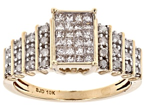 White Diamond 10k Yellow Gold Ring .55ctw
