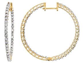 White Diamond 10k Yellow Gold Earrings 2.80ctw