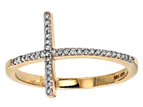 White Diamond 10k Yellow Gold Ring .10ctw