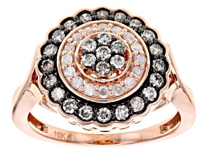 Champagne And White Diamond 10k Rose Gold Ring .75ctw