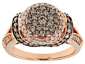Champagne And White Diamond 10k Rose Gold Ring 1.25ctw