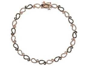 Champagne And White Diamond 10k Rose Gold Bracelet 1.43ctw